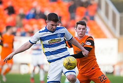 Morton's Ross Forbes and Dundee United's Ali Coote. Dundee United 1 v 1 Morton, Scottish Championship game played 25/2/2017 at Tannadice Park.