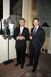 Left to right, STEPHANE BASCHIERS Ruinart President and PATRICK SHELLEY Ruinart UK MD at a dinner to celebrate the launch of the Dom Ruinart 1998 vinatage champage at Claridge's, Brook Street, London W1 on 23rd April 2008.<br />