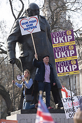 March 29, 2019 - London, London, UK - London, UK. Pro-Brexit supporters attend a Leave Means Leave rally in Parliament Square on the day The United Kingdom was to leave the European Union. (Credit Image: © Ray Tang/London News Pictures via ZUMA Wire)