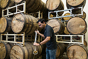 Virag Saksena takes a sample of whiskey at 10th Street Distillery in San Jose, California, on September 4, 2019. (Stan Olszewski for Content Magazine)