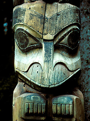 AK: Alaska Sitka National Historic Park, totem pole    .Photo Copyright: Lee Foster, lee@fostertravel.com, www.fostertravel.com, (510) 549-2202.Image: aksitk206