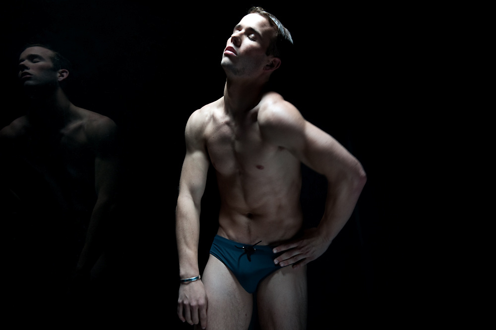 A moment caught with a male figure dance model in the studio