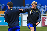 Aaron O'Driscoll of Mansfield Town (15) in the warm up during the The FA Cup match between Mansfield Town and Dagenham and Redbridge at the One Call Stadium, Mansfield, England on 29 November 2020.