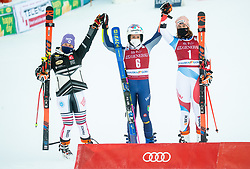 Second Placed Andrea Filser (GER), Winner Marta Bassino (ITA) and third placed Michelle Gisin (SUI) celebrate after the 2nd Run of Ladies' Giant Slalom at 57th Golden Fox event at Audi FIS Ski World Cup 2020/21, on January 16, 2021 in Podkoren, Kranjska Gora, Slovenia. Photo by Vid Ponikvar / Sportida