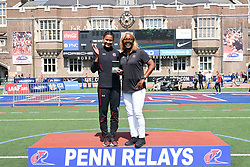 April 28, 2018 - Philadelphia, Pennsylvania, U.S - LISSA LABICHE (4) of the University of South Carolina winner of the CW high jump championship and her coach, DELETHEA QUARLES, at the 124th running of the Penn Relays in Philadelphia Pennsylvania (Credit Image: © Ricky Fitchett via ZUMA Wire)