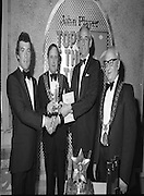 John Player Tops of the Town Final..1980-06-01.1st June 1980.01-06-1980.06-01-80..Photographed at Gaiety Theatre, Dublin....Waterford Banks and Finance claim second spot in the John Player Tops of the Town Final. They trailed Irish Distillers Variety Group by two marks. ..From Left:..Michael Harte, Group leader Waterford Banks and Finance, receiving his prize. ..Alderman Stephen Rogers, Mayor of Waterford...Frank O'Reilly, Chairman of John Player, presenting the National Final Trophy...Alderman William Cummiskey, Lord Mayor of Dublin.
