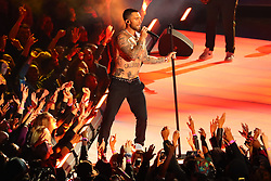 February 3, 2019 - Atlanta, GA, U.S. - ATLANTA, GA - FEBRUARY 03:  A shirtless Adam Levine performs during the Pepsi Halftime Show during Super Bowl LIII between the Los Angeles Rams and the New England Patriots on February 3, 2019 at Mercedes Benz Stadium in Atlanta, GA.  (Photo by Rich Graessle/Icon Sportswire) (Credit Image: © Rich Graessle/Icon SMI via ZUMA Press)
