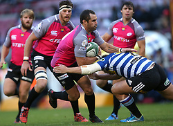 Francois Brummer of the Pumas is tackled by Michael Willemse of Western Province during the Currie Cup Premier Division match between the DHL Western Province and the Pumas held at the DHL Newlands rugby stadium in Cape Town, South Africa on the 17th September  2016<br /> <br /> Photo by: Shaun Roy / RealTime Images
