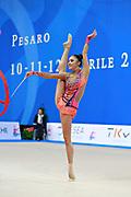 Hayakawa Sakura during qualifying at ribbon in Pesaro World Cup 11 April 2015. Sakura is a Japan rhythmic gymnastics athlete born March 17, 1997 in Osaka, Japan. She appeared in Senior competitions in the 2013 season.