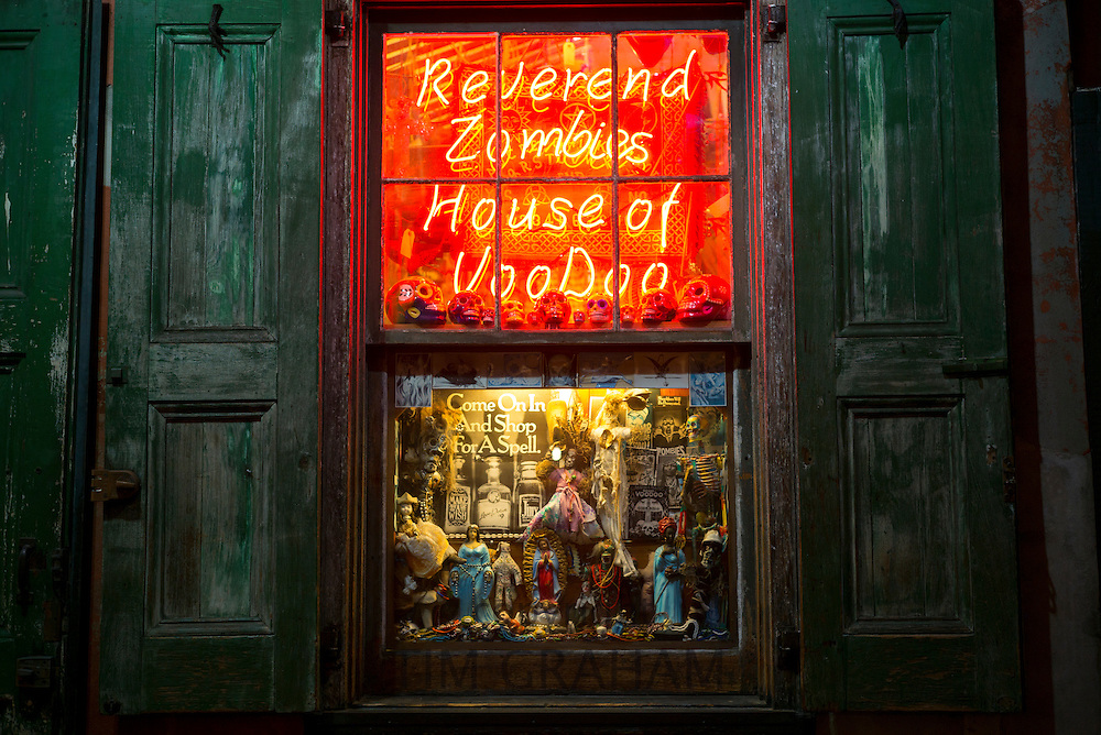 Voodoo icons shop off Bourbon Street in French Quarter of New Orleans, USA