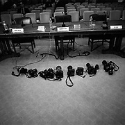 Press photographer's cameras seen before a U.S. Senate hearing with the U.S. Secretary of Defence and Chairman of the Joint Chiefs of Staff on Capitol Hill, Washington D.C., USA.<br /> <br /> (Credit Image: © Louie Palu/ZUMA Press)