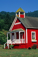 Old one-room red school house at Stone Lagoon, Humboldt County, California