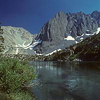 Big Pine Creek flows into Third Lake below Temple Crag in California's Sierra Nevada.
