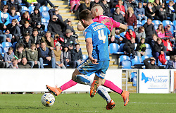 Marcus Maddison of Peterborough United scores his sides fourth goal of the game - Mandatory by-line: Joe Dent/JMP - 16/04/2016 - FOOTBALL - Weston Homes Community Stadium - Colchester, England - Colchester United v Peterborough United - Sky Bet League One