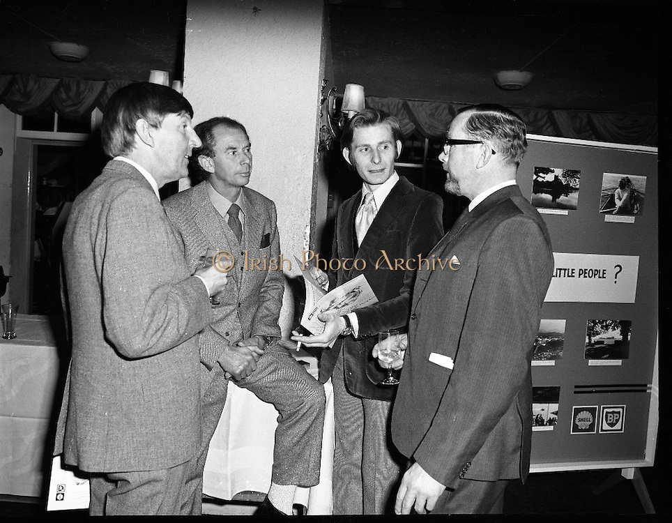 """Premiere of """"The Little People"""".A film by Irish Shell & BP Irl,Ltd..1971.26.04.1971..04.26.1971..26th April 1971..At the Savoy Cinema, O'Connell St, Dublin Irish Shell and BP Irl Ltd premiered the showing of their new film """"The Little People"""". Guest of honour at the showing was the Taoiseach, Mr Jack Lynch. He was accompanied by other members of the government. After the film they repaired to The Gresham Hotel, O'Connell St, for refreshments...Pictured at the premiere of """"The Little People"""" were (L-R), Mr Tony Gray,Script writer, Mr Vincent Corcoran, Vincent Corcoran Productions, Mr Peter Horrey, Editor and Mr Bernard A Nolan,Managing Director,Irish Shell and BP Ltd."""