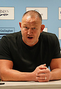 Sale Sharks Director of Rugby Steve Diamond speaks to the press after his sides impressive 39-0 win that puts them top of the table after Gallagher Premiership Rugby Union match, Friday, Mar. 6, 2020, in Eccles, United Kingdom. (Steve Flynn/Image of Sport)