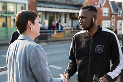 London, UK. 22 May, 2019. Caroline Lucas, Green Party MP for Brighton Pavilion, campaigns for the European elections in Gipsy Hill, Lambeth. After Gibraltar, Lambeth is the most pro-Remain area of the UK with 78.6% having voted Remain in 2016. There was a large swing to the Green Party in Gipsy Hill, historically a safe Labour seat, in May 2018 when Pete Elliott was elected as a Green councillor.