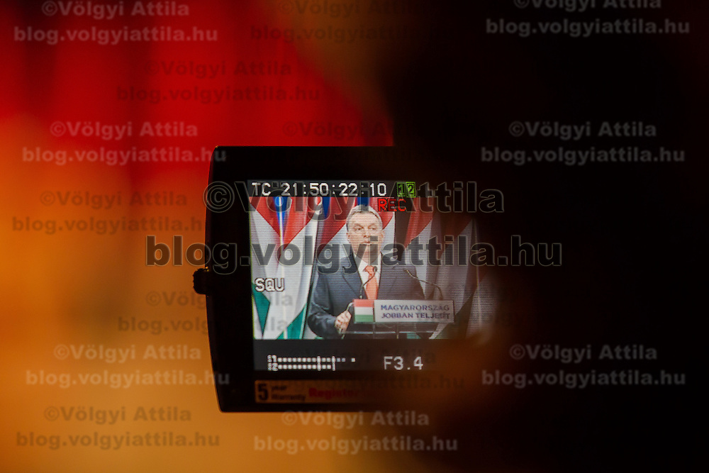 Viktor Orban prime minister of Hungary is seen on the LCD screen of a video camera as he talks during his annual state-of-the-nation speech in Budapest, Hungary on February 22, 2013. ATTILA VOLGYI