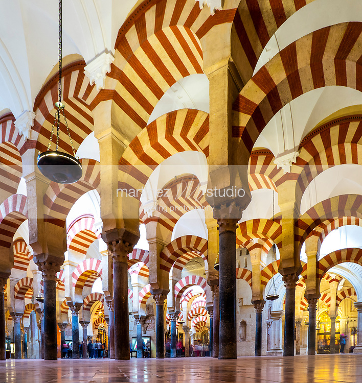 Inside view of The Mosque–Cathedral of Córdoba<br /> Cordoba, Spain<br /> April, 25, 2019