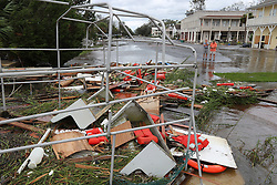 September 11, 2017 St. Marys: Local residents Gary McClain, left, and Bill Gross take in the remains of the old Cumberland Island Ferry scattered across a flooded street after Hurricane Irma swept through taking out the city's docks, damaging homes and sinking numerous boats on Monday, September 11, 2017, in St. Marys, GA, USA. Most of the ferry sank to the bottom. Many residents said it was the worse damage in the city they had ever seen. Photo by Curtis Compton/Atlanta Journal-Constitution/TNS/ABACAPRESS.COM