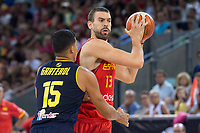 Spain's Marc Gasol and Venezuela's Windi Graterol during friendly match for the preparation for Eurobasket 2017 between Spain and Venezuela at Madrid Arena in Madrid, Spain August 15, 2017. (ALTERPHOTOS/Borja B.Hojas)