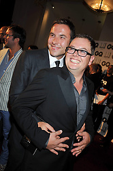 Left to right, DAVID WALLIAMS and ALAN CARR at the annual GQ Awards held at the Royal Opera House, Covent Garden, London on 8th September 2009.