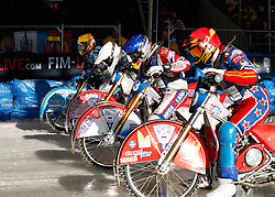 13.03.2016, Assen, BEL, FIM Eisspeedway Gladiators, Assen, im Bild Der Start Dmitry Khomitsevich (RUS), Daniil Ivanov (RUS), Igor Kononov(RUS), Guenther Bauer (GER) // during the Astana Expo FIM Ice Speedway Gladiators World Championship in Assen, Belgium on 2016/03/13. EXPA Pictures © 2016, PhotoCredit: EXPA/ Eibner-Pressefoto/ Stiefel<br /> <br /> *****ATTENTION - OUT of GER*****