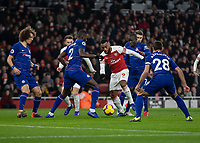 Football - 2018 / 2019 Premier League - Arsenal vs. Chelsea<br /> <br /> Alexandre Lacazette (Arsenal FC) finds himself surrounded by Chelsea players as he tries to get the ball out from his feet at The Emirates.<br /> <br /> COLORSPORT/DANIEL BEARHAM