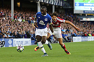 Yannick Bolasie of Everton (l) gets away from George Friend of Middlesbrough. Premier league match, Everton v Middlesbrough at Goodison Park in Liverpool, Merseyside on Saturday 17th September 2016.<br /> pic by Chris Stading, Andrew Orchard sports photography.