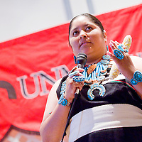 103112       Cable Hoover<br /> <br /> Amanda Martza talks about the traditional importance of corn during the Miss Native UNM-Gallup Pageant at UNM-G Wednesday.
