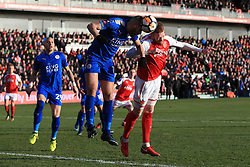 6th January 2018 - FA Cup - 3rd Round - Fleetwood Town v Leicester City - Islam Slimani of Leicester battles with Cian Bolger of Fleetwood - Photo: Simon Stacpoole / Offside.