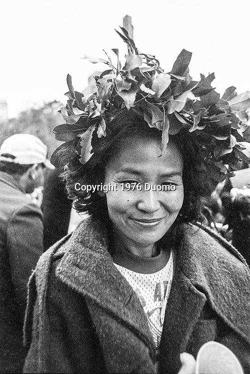 Miki Gorman (USA) winner of the 1976 New York City Marathon