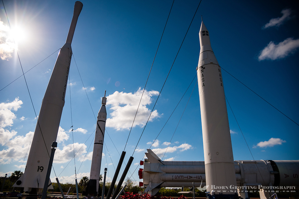 US, Florida. John F. Kennedy Space Center. Rocket Garden at the Visitor Complex. From left Thor-Delta, Juno I, Saturn IB (horizontal) and Juno II.