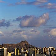 Diamond Head above the Honolulu city skyline.
