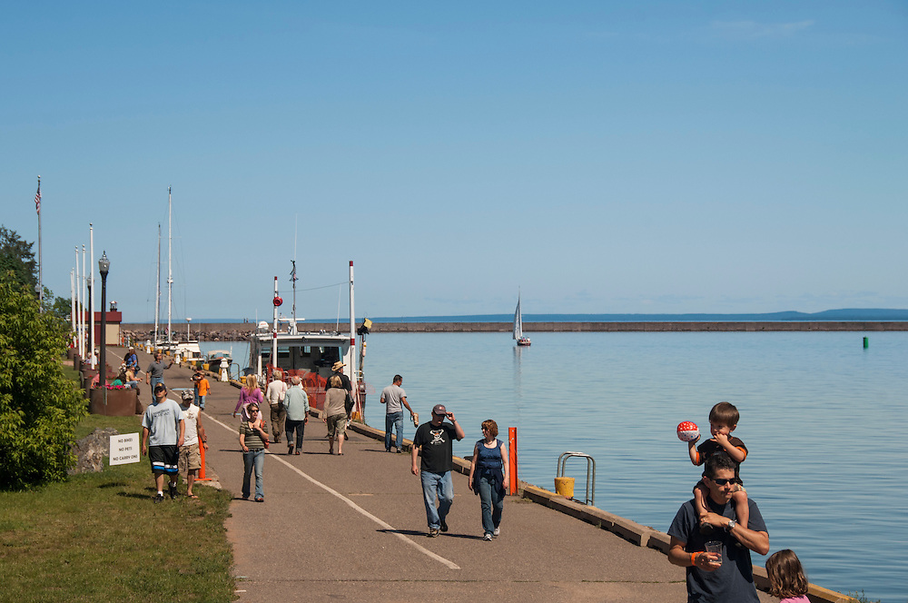 A summer festival at Mattson Lower Harbor Park in Marquette, Michigan.