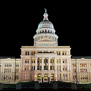 High resolution image of the Texas State Capitol Building in Austin, Texas, at night.