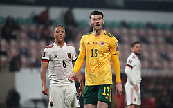 LEUVEN, BELGIUM - Wednesday, March 24, 2021: Wales' Kieffer Moore (R) and Belgium's Youri Tielemans during the FIFA World Cup Qatar 2022 European Qualifying Group E game between Belgium and Wales at the King Power Den dreef Stadium. Belgium won 3-1. (Pic by Vincent Van Doornick/Isosport/Propaganda)