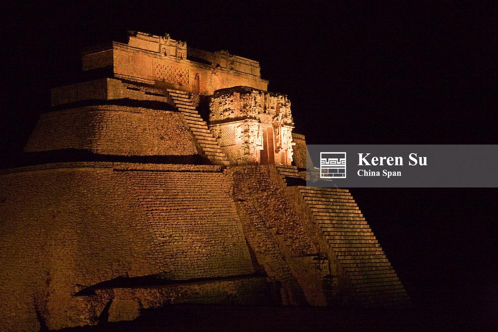 Night view of illuminated Magician Pyramid, Uxmal, Yucatan, Mexico