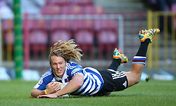Werner Kok of Western Province scores Western Province second try during the Currie Cup Premier Division match between the DHL Western Province and the Sharks held at the DHL Newlands Rugby Stadium in Cape Town, South Africa on the 3rd September  2016<br /> <br /> Photo by: Shaun Roy / RealTime Images