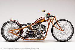 """""""'El Scorcho"""", bicycle style chopper, built from a 96""""in Shovel, by Mark Shell, in  Idaho Falls, ID.  Photographed by Michael Lichter in Sturgis, SD on 8/1/18. ©2018 Michael Lichter."""