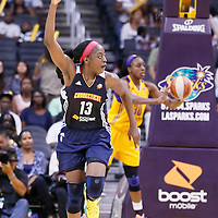 03 August 2014: Connecticut Sun forward Chiney Ogwumike (13) celebrates during the Los Angeles Sparks 70-69 victory over the Connecticut Sun, at the Staples Center, Los Angeles, California, USA.