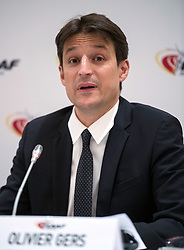 IAAF Chief Executive Olivier Gers during the press conference at the London Marriott Hotel Canary Wharf, London.