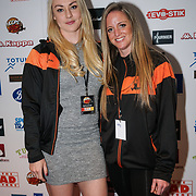 London,England,UK. 14th May 2017. Mica McNeill , Kelly Haynes of the British bobsleigh attends the BBL Play-Off Finals also fundraising for Hoops Aid 2017 but also a major fundraising opportunity for the Sports Traider Charity at London's O2 Arena, UK. by See Li