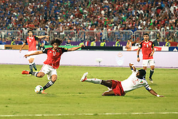 October 8, 2017 - Alexandria, Egypt - Arsenal's Egyptian midfielder Mohamed Elneny (L) in action  during the World Cup 2018 Africa qualifying match between Egypt and Congo at the Borg el-Arab stadium in Alexandria on October 8, 2017.  Egypt won 2-1. (Credit Image: © Islam Safwat/NurPhoto via ZUMA Press)