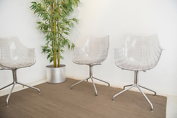 Hospital waiting room with empty chairs and bamboo plant, Munich, Bavaria, Germany