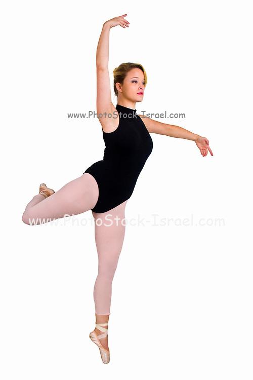 Female blond Ballet Dancer balances on her toes