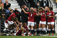 04 December 2011: Stanford's Teresa Noyola (7) celebrates scoring the game's only goal with her teammates. The Stanford University Cardinal defeated the Duke University Blue Devils 1-0 at KSU Soccer Stadium in Kennesaw, Georgia in the NCAA Division I Women's Soccer College Cup Final.