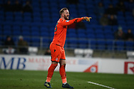 Ben Alnwick, the goalkeeper of Bolton Wanderers in action.  EFL Skybet championship match, Cardiff city v Bolton Wanderers at the Cardiff city Stadium in Cardiff, South Wales on Tuesday 13th February 2018.<br /> pic by Andrew Orchard, Andrew Orchard sports photography.