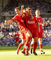 Photo. Jed Wee.<br /> Blackburn Rovers v Liverpool, FA Barclaycard Premiership, Ewood Park, Blackburn. 13/09/2003.<br /> Liverpool's Vladimir Smicer (L) celebrates with Harry Kewell after the latter's goal makes the game safe for Liverpool.