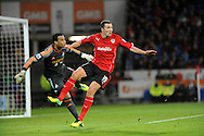 Don Cowie of Cardiff City clashes with Swansea City goalkeeper Michel Vorm.<br /> Barclays Premier League match, Cardiff city v Swansea city at the Cardiff city stadium in Cardiff, South Wales on Sunday 3rd Nov 2013. pic by Phil Rees, Andrew Orchard sports photography,